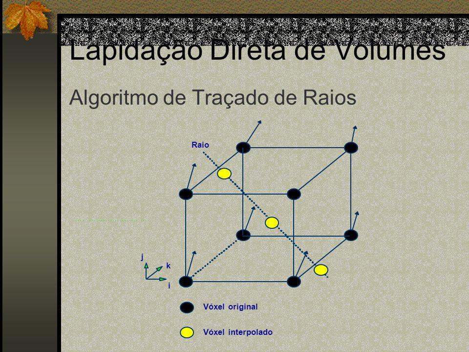 Lapidação Direta de Volumes i j k Vóxel original Vóxel interpolado Raio Algoritmo de Traçado de Raios