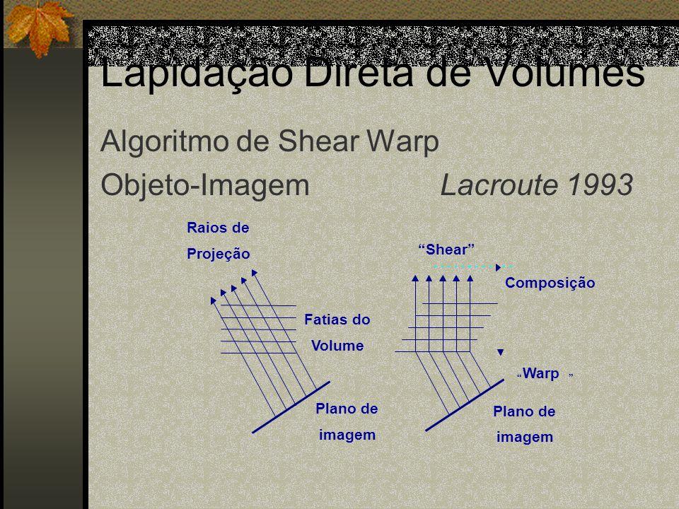 Lapidação Direta de Volumes Fatias do Volume Plano de imagem Raios de Projeção Plano de imagem Shear Composição Warp Algoritmo de Shear Warp Objeto-Im