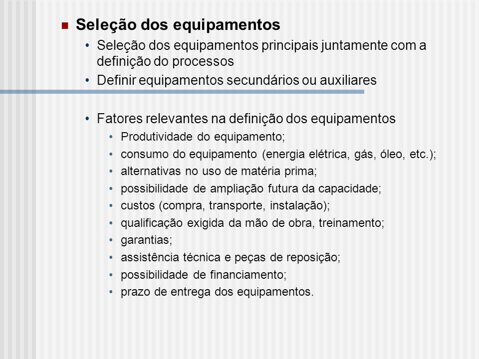 Seleção dos equipamentos Seleção dos equipamentos principais juntamente com a definição do processos Definir equipamentos secundários ou auxiliares Fa