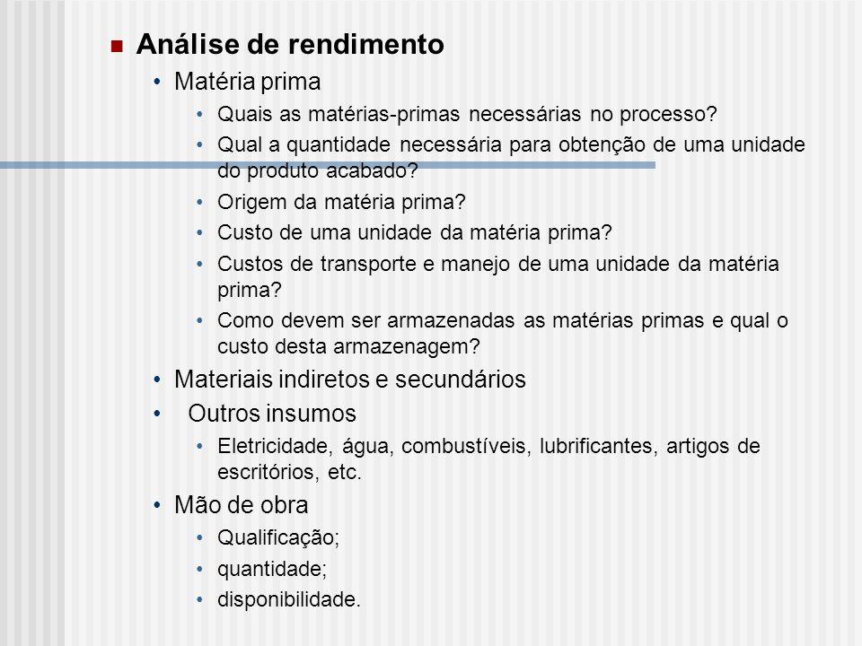 Análise de rendimento Matéria prima Quais as matérias-primas necessárias no processo? Qual a quantidade necessária para obtenção de uma unidade do pro