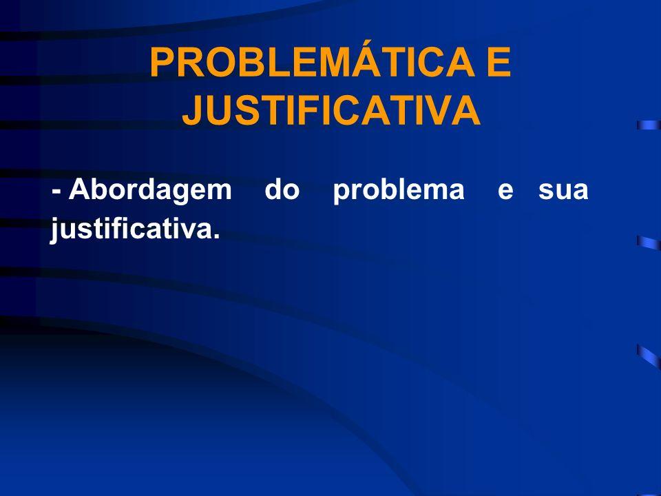 PROBLEMÁTICA E JUSTIFICATIVA - Abordagem do problema e sua justificativa.