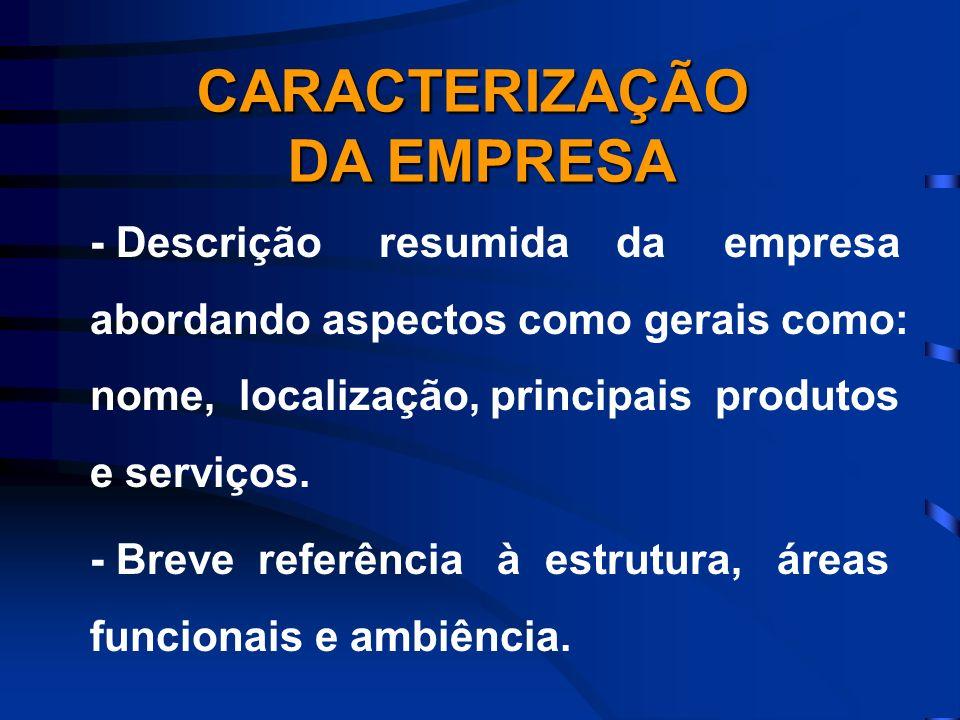- Descrição resumida da empresa abordando aspectos como gerais como: nome, localização, principais produtos e serviços. - Breve referência à estrutura