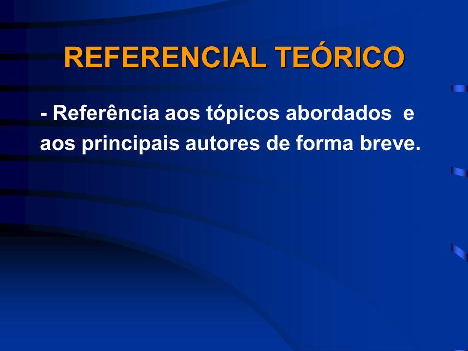 REFERENCIAL TEÓRICO - Referência aos tópicos abordados e aos principais autores de forma breve.