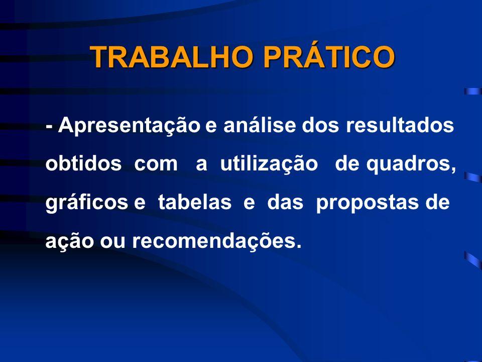 - Apresentação e análise dos resultados obtidos com a utilização de quadros, gráficos e tabelas e das propostas de ação ou recomendações. TRABALHO PRÁ