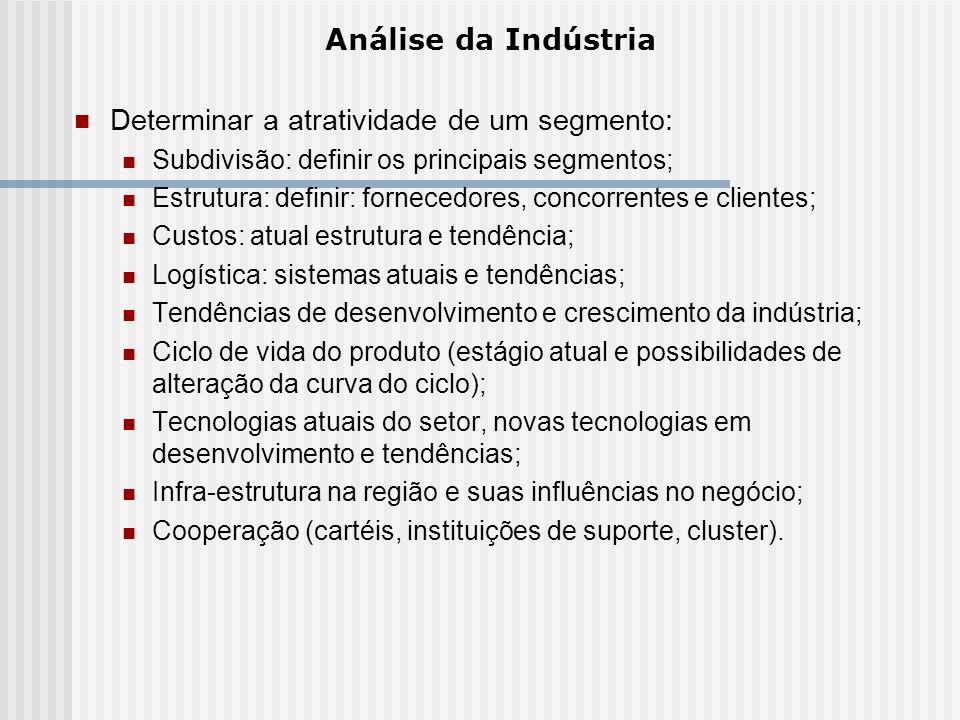 Determinar a atratividade de um segmento: Subdivisão: definir os principais segmentos; Estrutura: definir: fornecedores, concorrentes e clientes; Cust