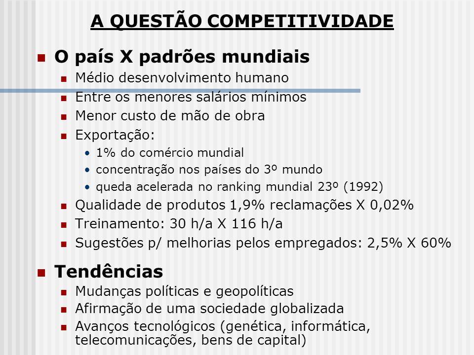 O país X padrões mundiais Médio desenvolvimento humano Entre os menores salários mínimos Menor custo de mão de obra Exportação: 1% do comércio mundial