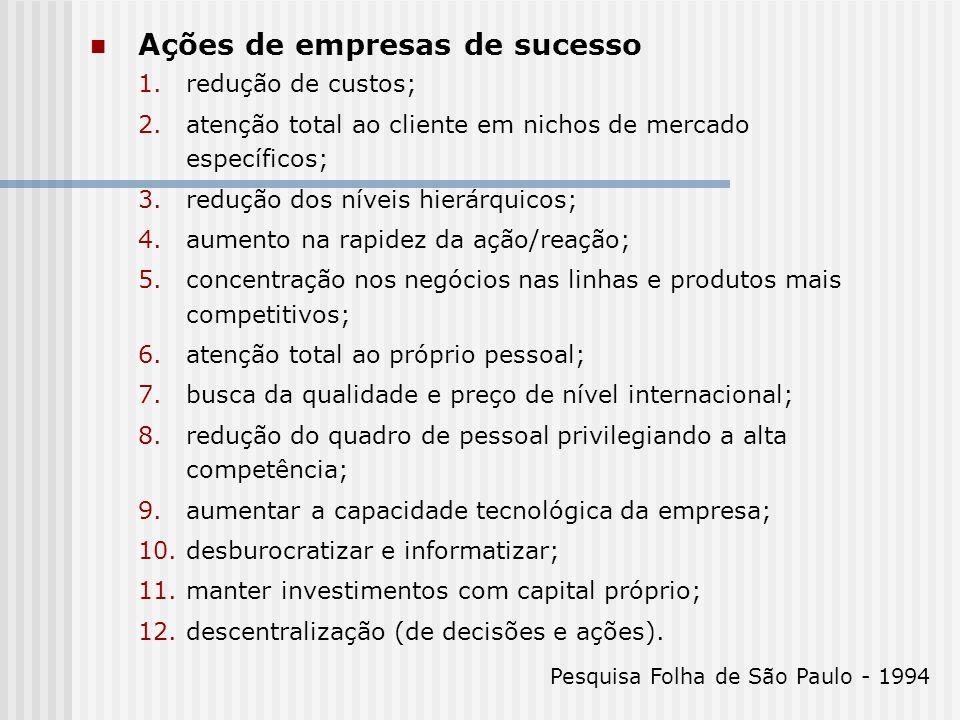 Ações de empresas de sucesso 1.redução de custos; 2.atenção total ao cliente em nichos de mercado específicos; 3.redução dos níveis hierárquicos; 4.au