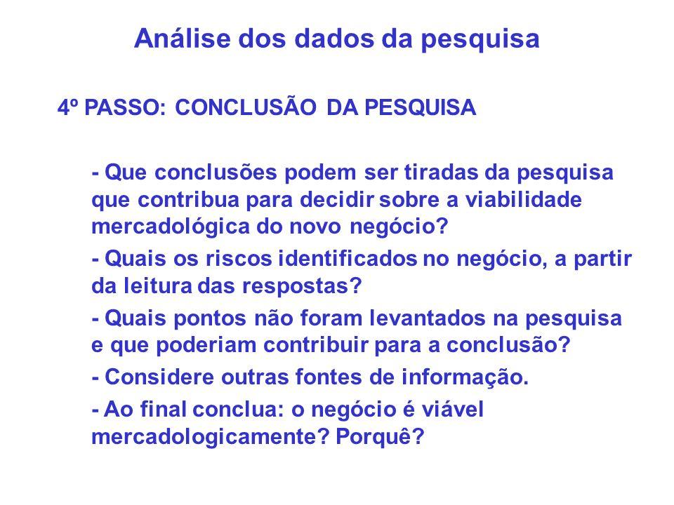 Análise dos dados da pesquisa 4º PASSO: CONCLUSÃO DA PESQUISA - Que conclusões podem ser tiradas da pesquisa que contribua para decidir sobre a viabil
