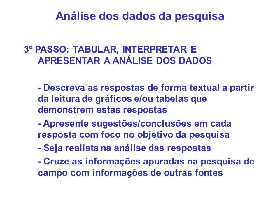 Análise dos dados da pesquisa 3º PASSO: TABULAR, INTERPRETAR E APRESENTAR A ANÁLISE DOS DADOS - Descreva as respostas de forma textual a partir da lei