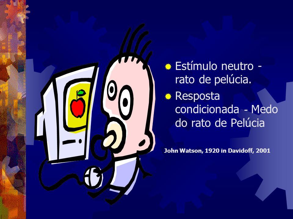 Estímulo neutro - rato de pelúcia. Resposta condicionada - Medo do rato de Pelúcia John Watson, 1920 in Davidoff, 2001