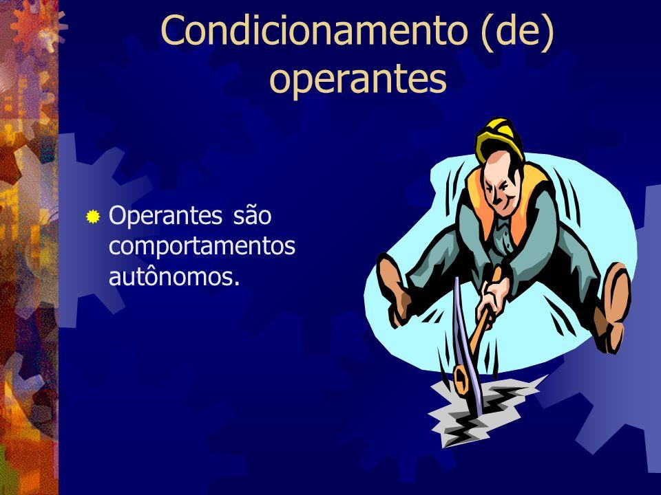 O condicionamento operante ocorre quando os efeitos que se seguem ao operante aumentam ou diminuem a possibilidade de o operante voltar a ser desempenhado em situação similar.