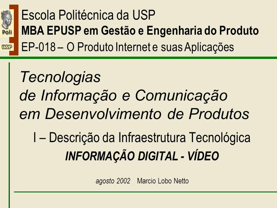 I – Informação Digital - Vídeo Escola Politécnica da USP MBA EPUSP em Gestão e Engenharia do Produto EP-018 – O Produto Internet e suas Aplicações Tecnologias de Informação e Comunicação em Desenvolvimento de Produtos I – Descrição da Infraestrutura Tecnológica INFORMAÇÃO DIGITAL - VÍDEO agosto 2002 Marcio Lobo Netto