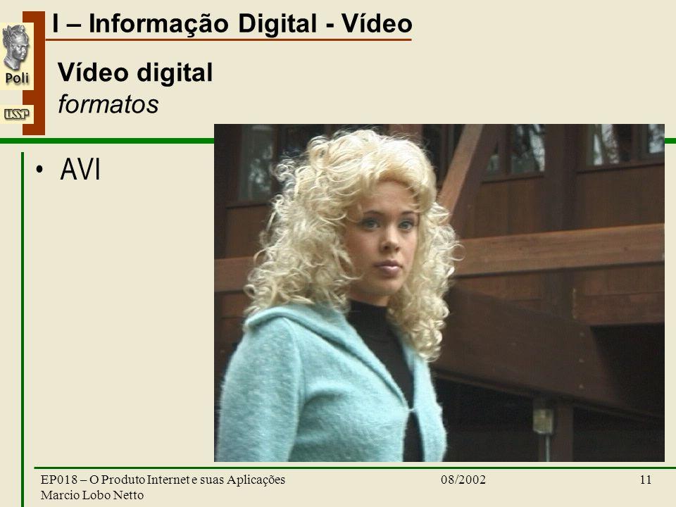 I – Informação Digital - Vídeo 08/2002EP018 – O Produto Internet e suas Aplicações Marcio Lobo Netto 11 Vídeo digital formatos AVI
