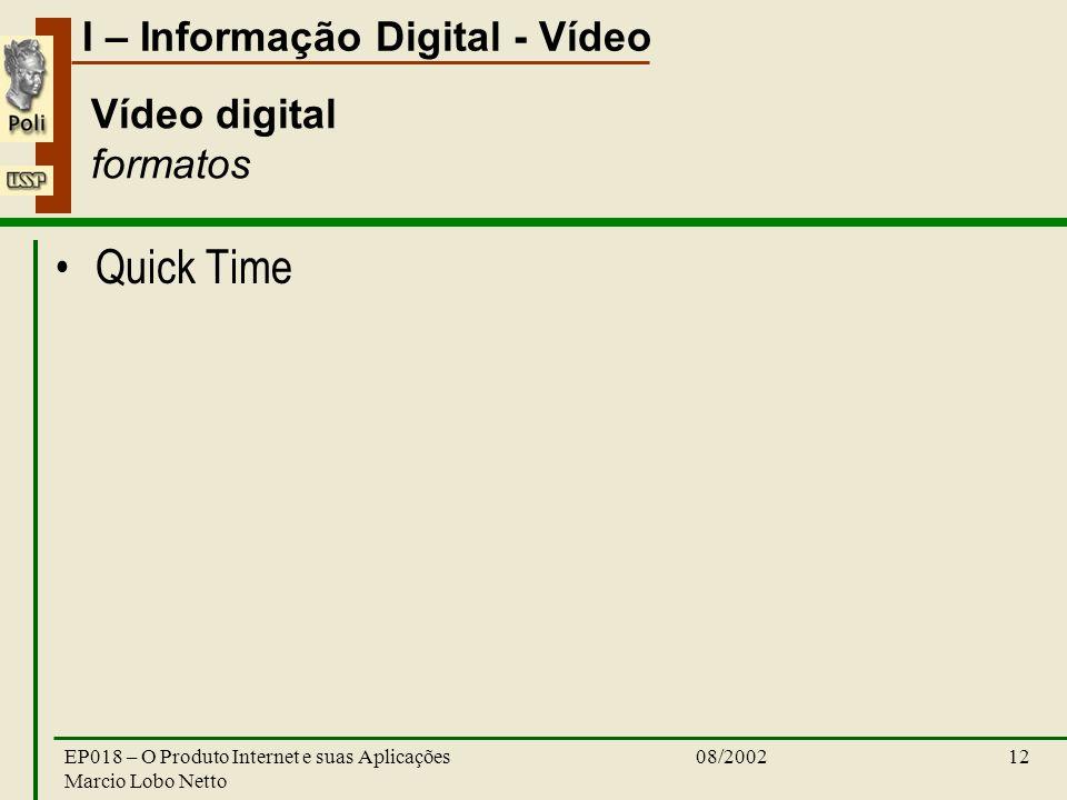 I – Informação Digital - Vídeo 08/2002EP018 – O Produto Internet e suas Aplicações Marcio Lobo Netto 12 Vídeo digital formatos Quick Time