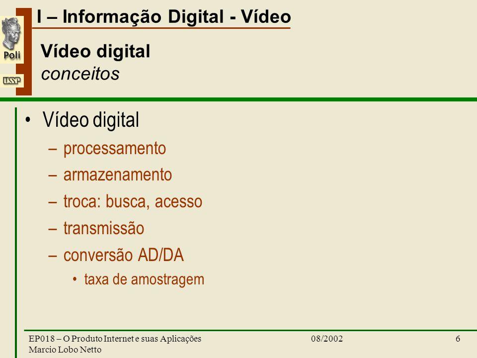 I – Informação Digital - Vídeo 08/2002EP018 – O Produto Internet e suas Aplicações Marcio Lobo Netto 6 Vídeo digital conceitos Vídeo digital –processamento –armazenamento –troca: busca, acesso –transmissão –conversão AD/DA taxa de amostragem