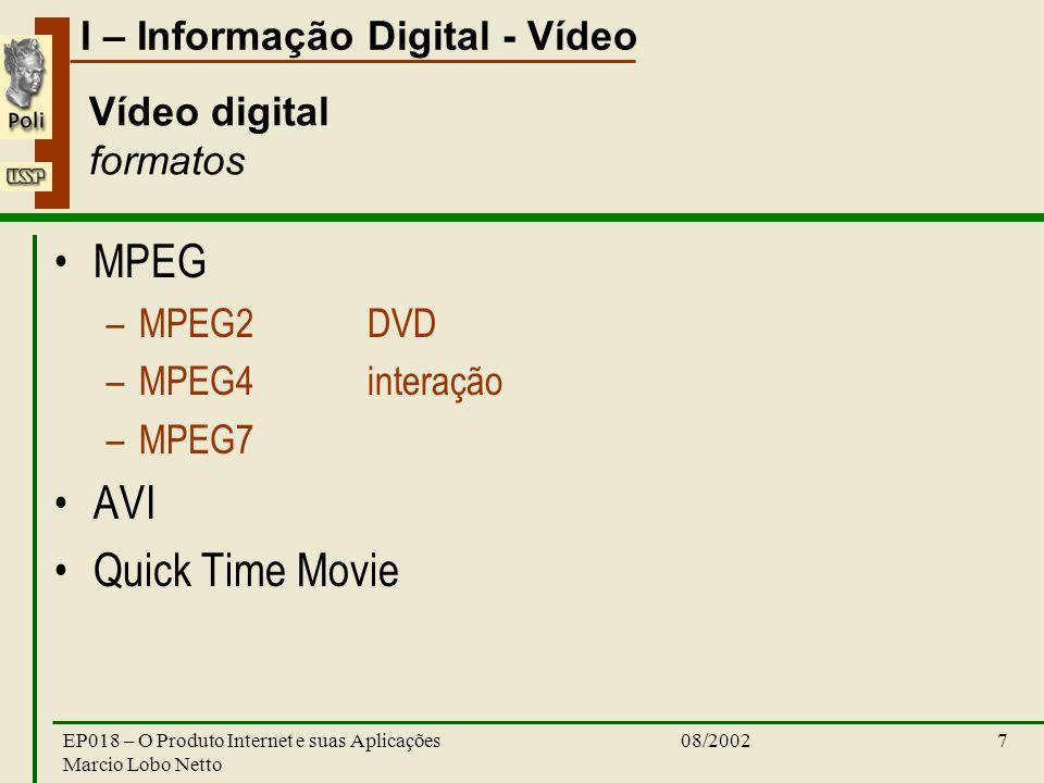 I – Informação Digital - Vídeo 08/2002EP018 – O Produto Internet e suas Aplicações Marcio Lobo Netto 7 Vídeo digital formatos MPEG –MPEG2DVD –MPEG4interação –MPEG7 AVI Quick Time Movie