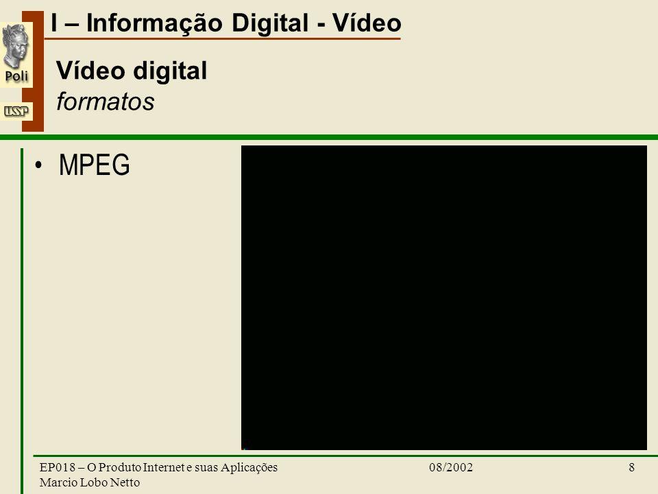 I – Informação Digital - Vídeo 08/2002EP018 – O Produto Internet e suas Aplicações Marcio Lobo Netto 8 Vídeo digital formatos MPEG