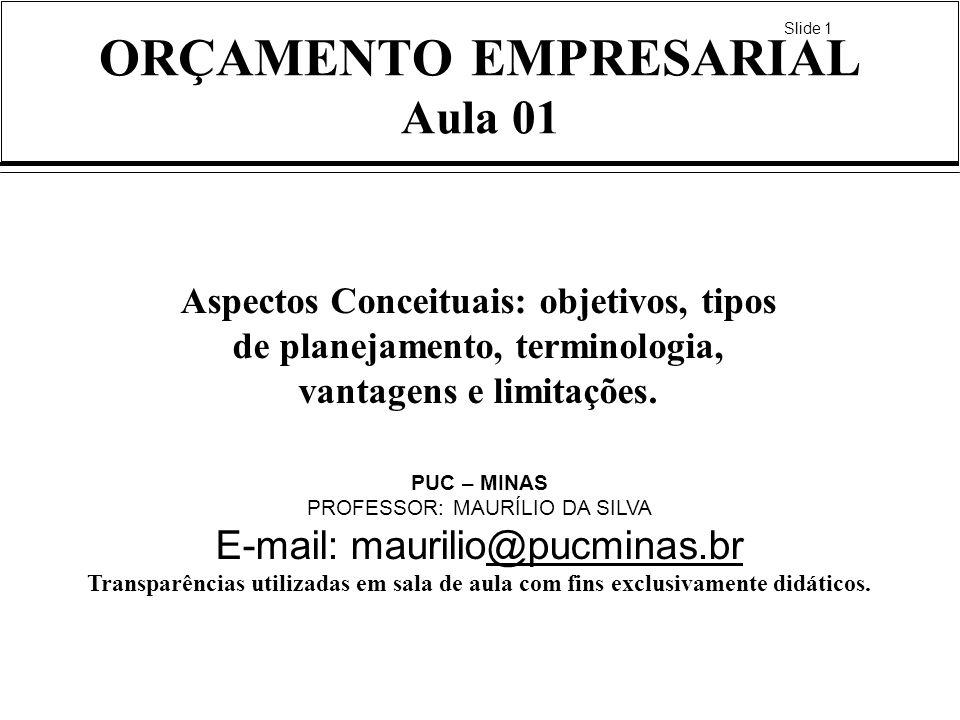 Slide 1 ORÇAMENTO EMPRESARIAL Aula 01 Aspectos Conceituais: objetivos, tipos de planejamento, terminologia, vantagens e limitações. PUC – MINAS PROFES