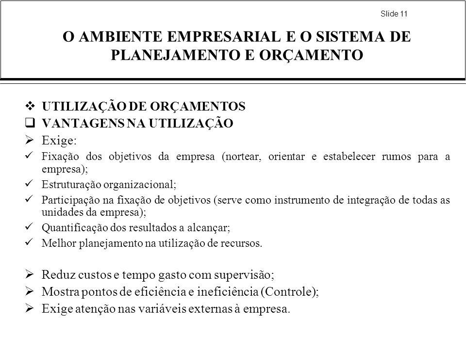 Slide 11 O AMBIENTE EMPRESARIAL E O SISTEMA DE PLANEJAMENTO E ORÇAMENTO UTILIZAÇÃO DE ORÇAMENTOS VANTAGENS NA UTILIZAÇÃO Exige: Fixação dos objetivos