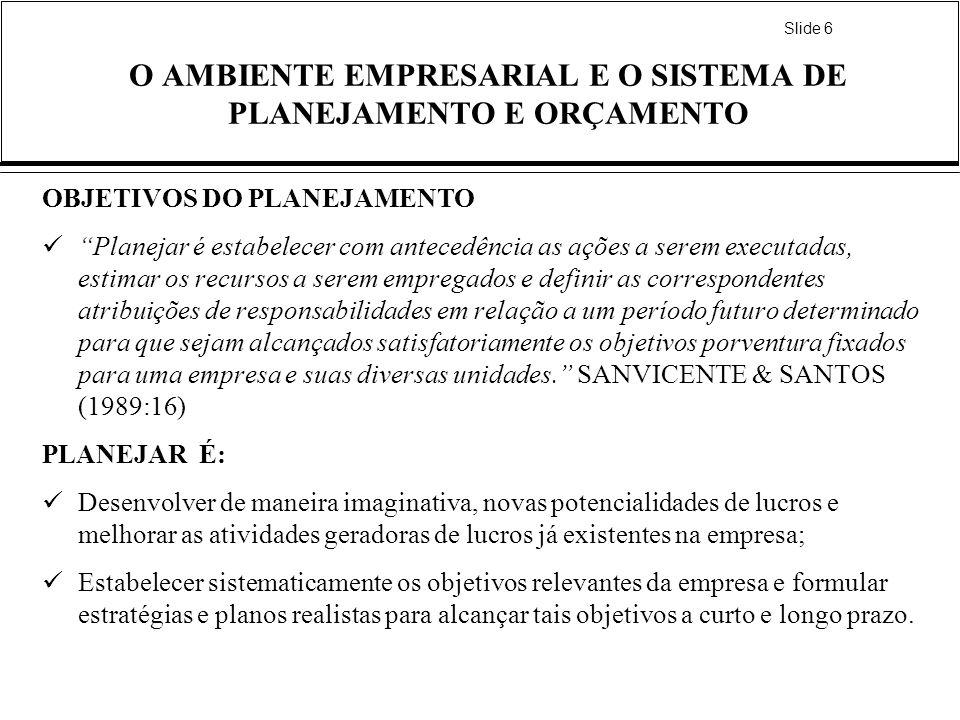 Slide 6 O AMBIENTE EMPRESARIAL E O SISTEMA DE PLANEJAMENTO E ORÇAMENTO OBJETIVOS DO PLANEJAMENTO Planejar é estabelecer com antecedência as ações a se
