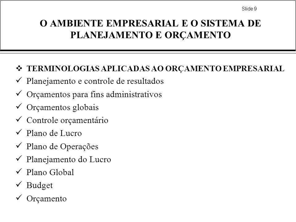 Slide 9 O AMBIENTE EMPRESARIAL E O SISTEMA DE PLANEJAMENTO E ORÇAMENTO TERMINOLOGIAS APLICADAS AO ORÇAMENTO EMPRESARIAL Planejamento e controle de res