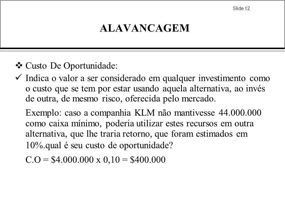 Slide 12 ALAVANCAGEM Custo De Oportunidade: Indica o valor a ser considerado em qualquer investimento como o custo que se tem por estar usando aquela