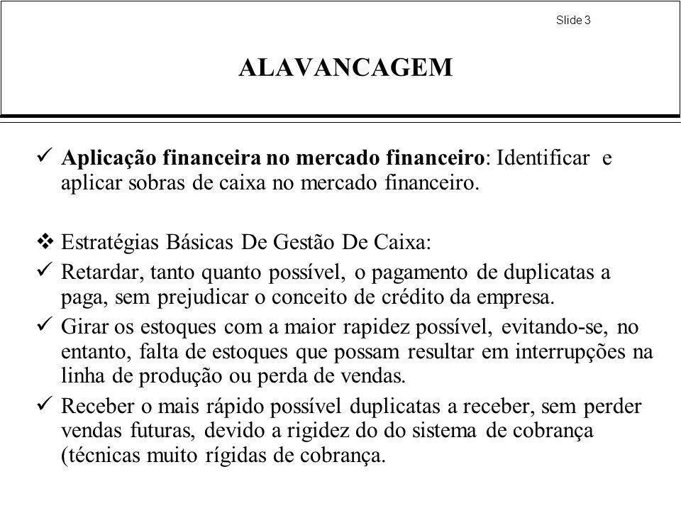 Slide 3 ALAVANCAGEM Aplicação financeira no mercado financeiro: Identificar e aplicar sobras de caixa no mercado financeiro. Estratégias Básicas De Ge