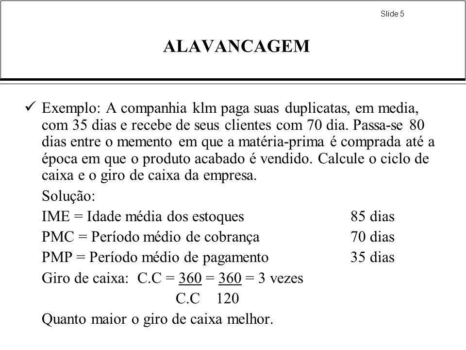 Slide 5 ALAVANCAGEM Exemplo: A companhia klm paga suas duplicatas, em media, com 35 dias e recebe de seus clientes com 70 dia. Passa-se 80 dias entre