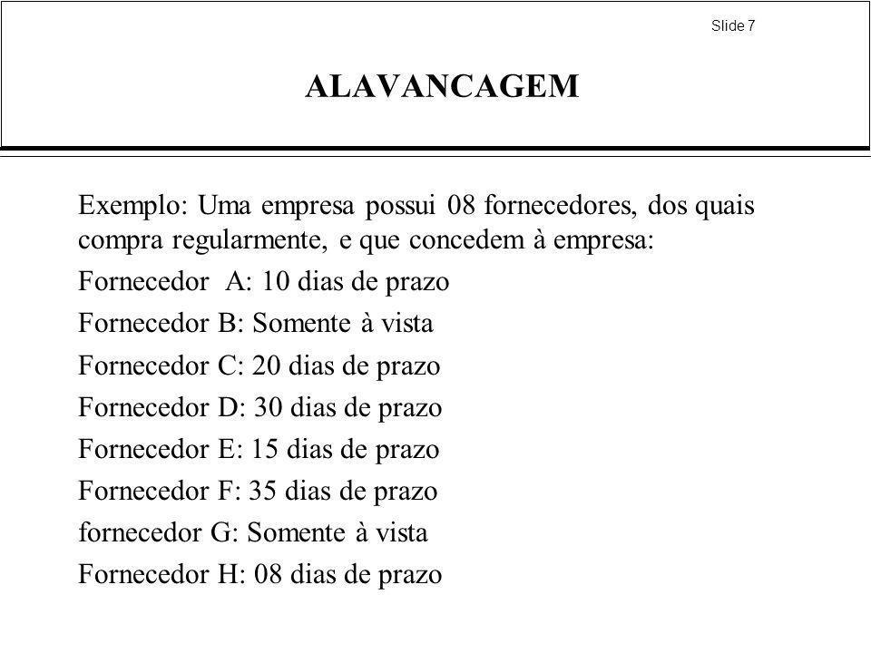 Slide 7 ALAVANCAGEM Exemplo: Uma empresa possui 08 fornecedores, dos quais compra regularmente, e que concedem à empresa: Fornecedor A: 10 dias de pra