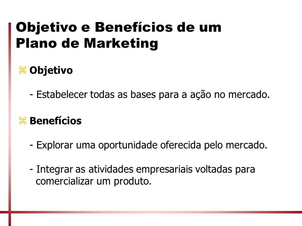 Objetivo e Benefícios de um Plano de Marketing zObjetivo - Estabelecer todas as bases para a ação no mercado. zBenefícios - Explorar uma oportunidade