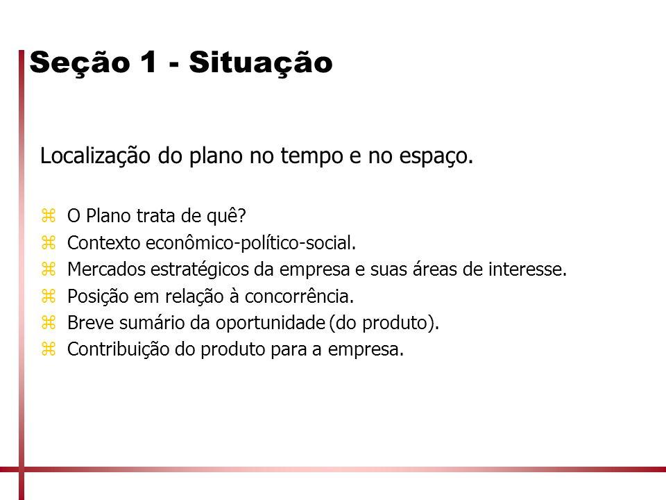 Seção 1 - Situação Localização do plano no tempo e no espaço. zO Plano trata de quê? zContexto econômico-político-social. zMercados estratégicos da em