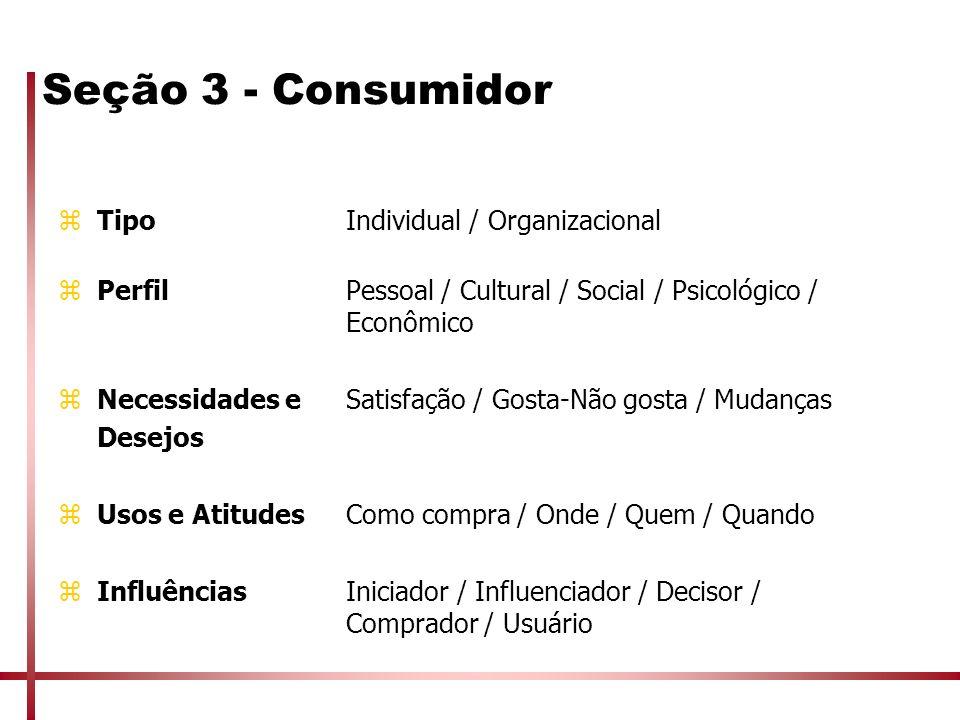 Seção 3 - Consumidor zTipoIndividual / Organizacional zPerfilPessoal / Cultural / Social / Psicológico / Econômico zNecessidades eSatisfação / Gosta-N