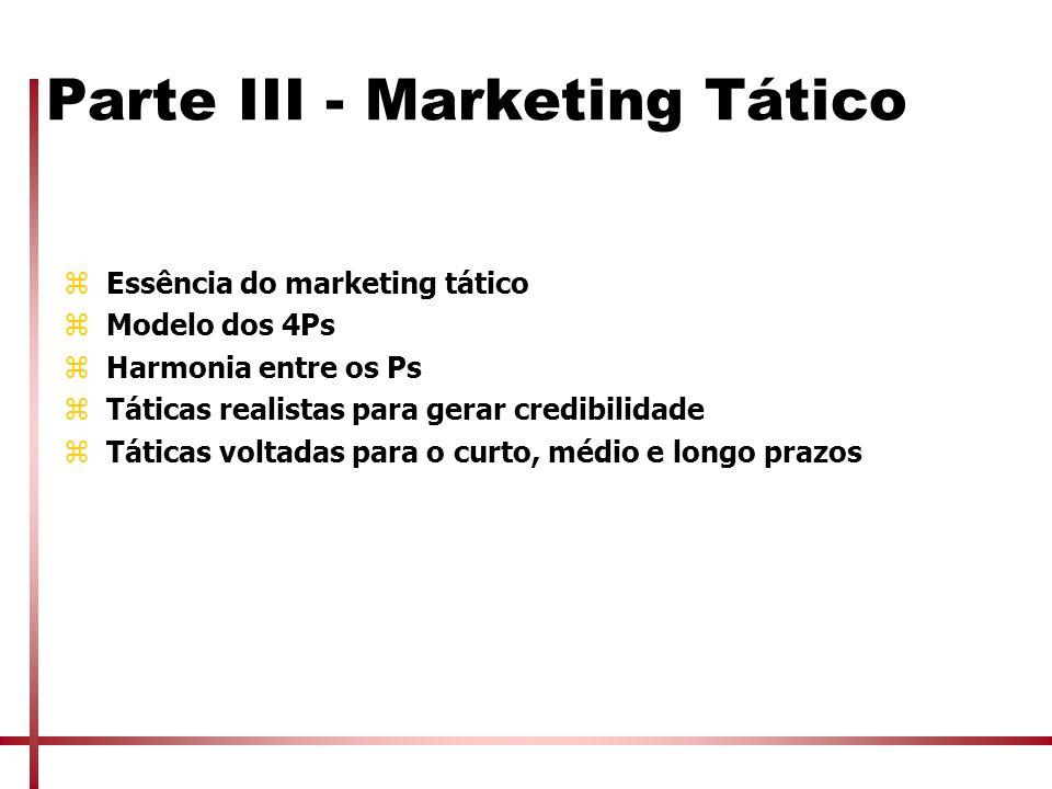 Parte III - Marketing Tático zEssência do marketing tático zModelo dos 4Ps zHarmonia entre os Ps zTáticas realistas para gerar credibilidade zTáticas