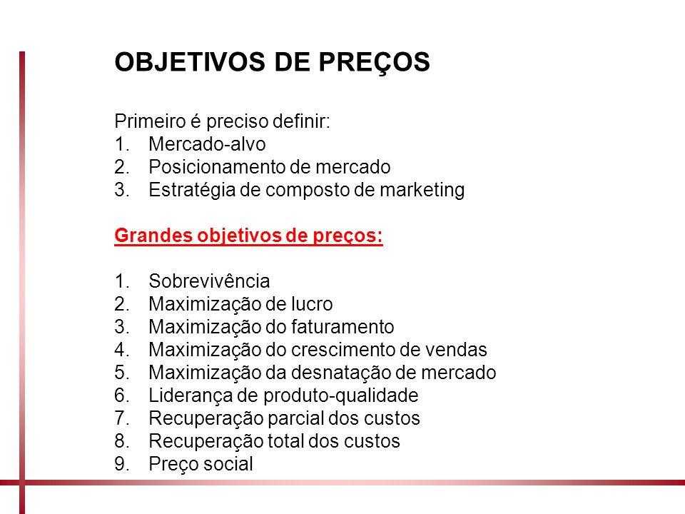 OBJETIVOS DE PREÇOS Primeiro é preciso definir: 1.Mercado-alvo 2.Posicionamento de mercado 3.Estratégia de composto de marketing Grandes objetivos de