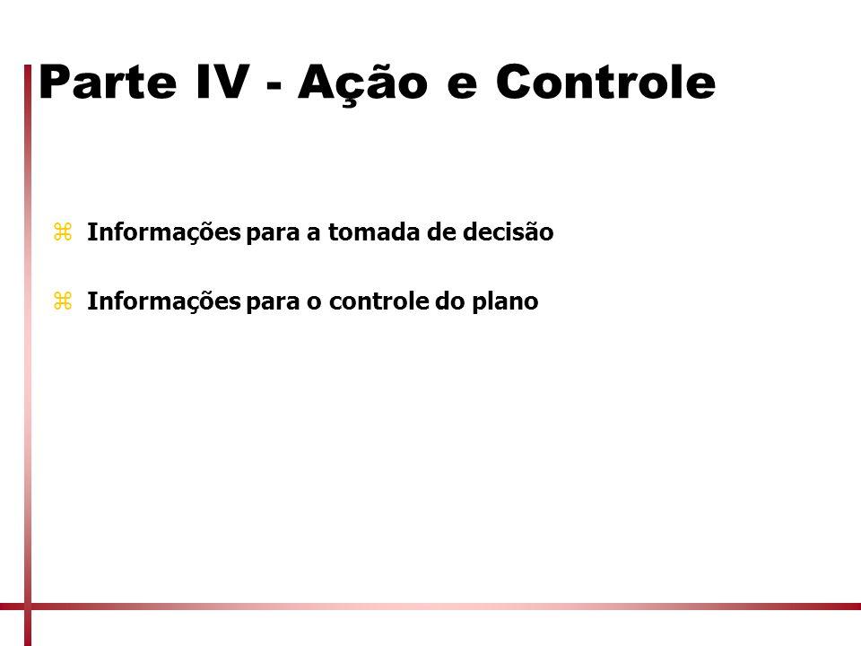 Parte IV - Ação e Controle zInformações para a tomada de decisão zInformações para o controle do plano