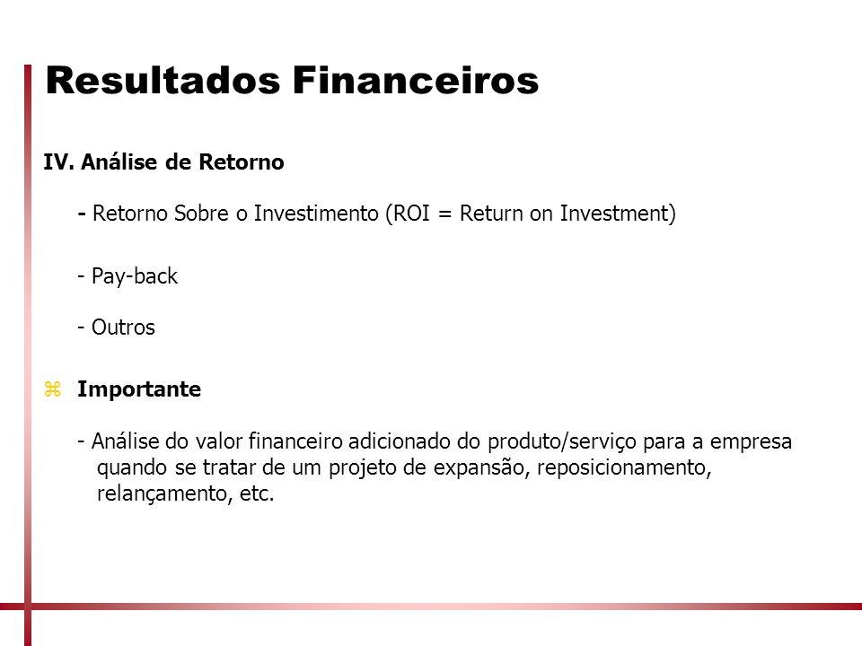 Resultados Financeiros IV. Análise de Retorno - Retorno Sobre o Investimento (ROI = Return on Investment) - Pay-back - Outros zImportante - Análise do