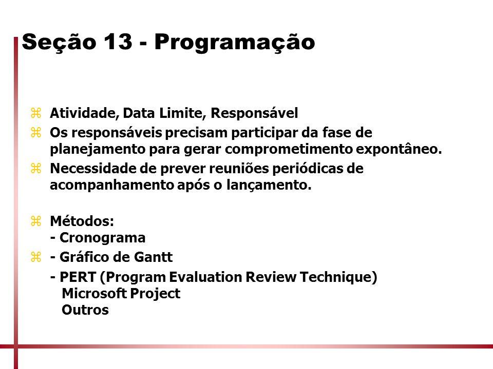 Seção 13 - Programação zAtividade, Data Limite, Responsável zOs responsáveis precisam participar da fase de planejamento para gerar comprometimento ex