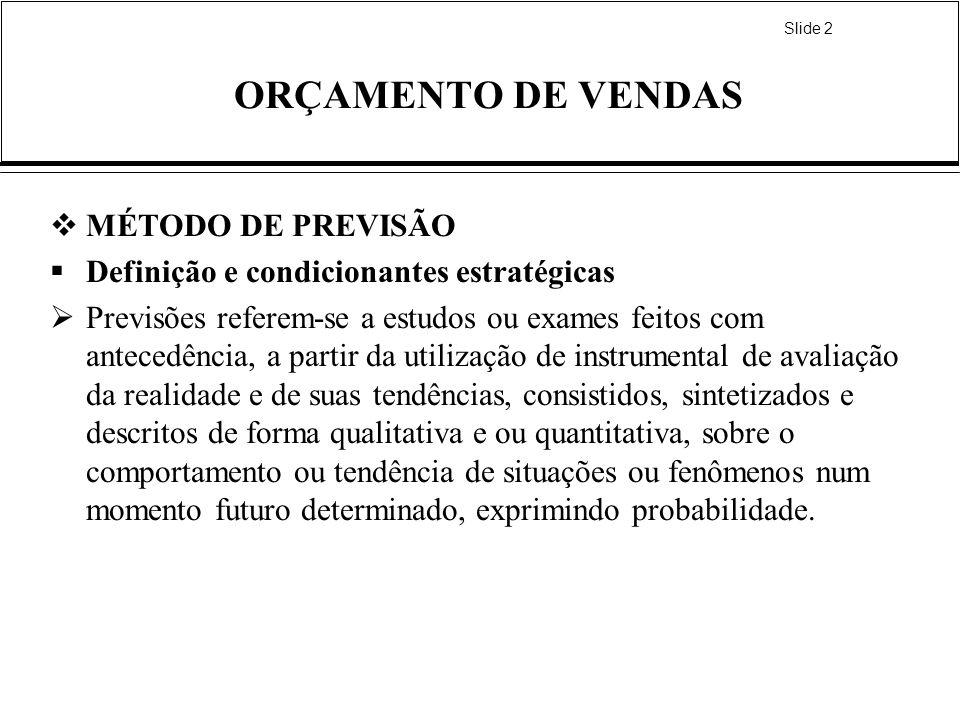 Slide 2 ORÇAMENTO DE VENDAS MÉTODO DE PREVISÃO Definição e condicionantes estratégicas Previsões referem-se a estudos ou exames feitos com antecedênci