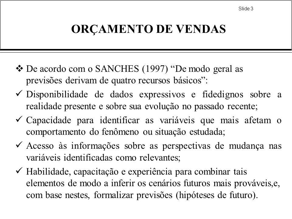Slide 3 ORÇAMENTO DE VENDAS De acordo com o SANCHES (1997) De modo geral as previsões derivam de quatro recursos básicos: Disponibilidade de dados exp