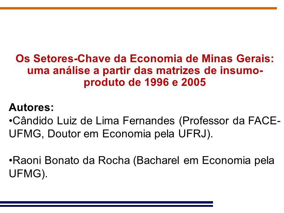 Os Setores-Chave da Economia de Minas Gerais: uma análise a partir das matrizes de insumo- produto de 1996 e 2005 Autores: Cândido Luiz de Lima Fernan