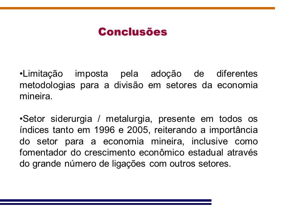Conclusões Limitação imposta pela adoção de diferentes metodologias para a divisão em setores da economia mineira. Setor siderurgia / metalurgia, pres