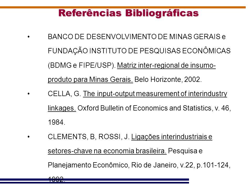 Referências Bibliográficas BANCO DE DESENVOLVIMENTO DE MINAS GERAIS e FUNDAÇÃO INSTITUTO DE PESQUISAS ECONÔMICAS (BDMG e FIPE/USP). Matriz inter-regio