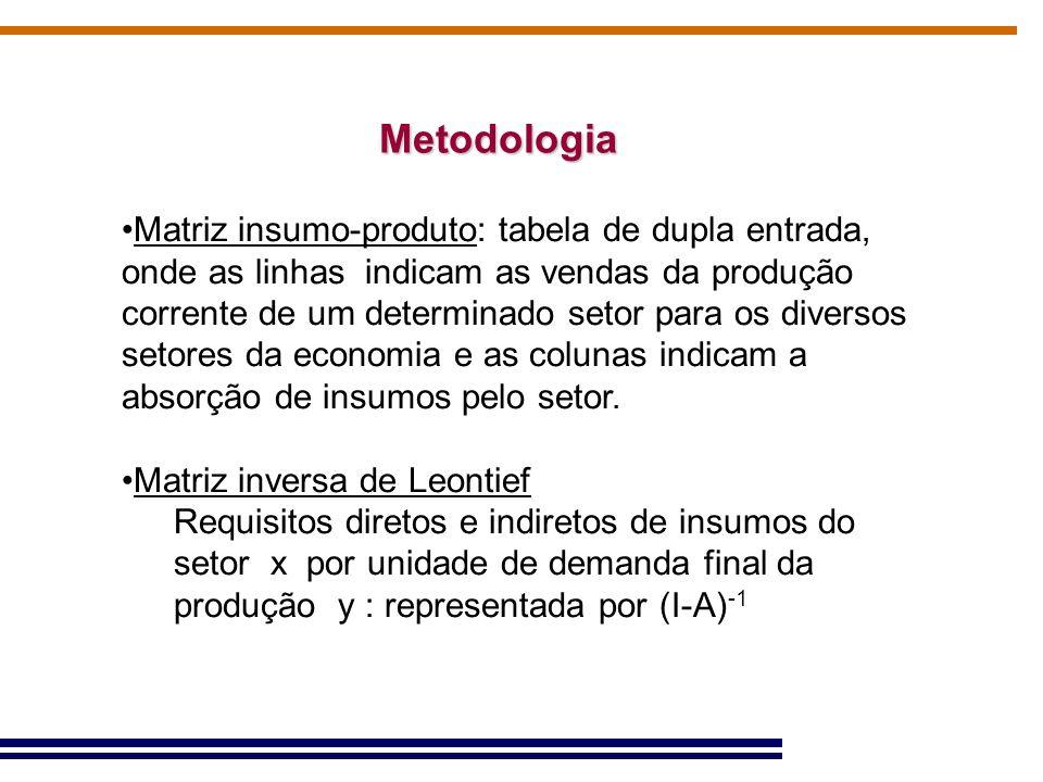 Metodologia Matriz insumo-produto: tabela de dupla entrada, onde as linhas indicam as vendas da produção corrente de um determinado setor para os dive