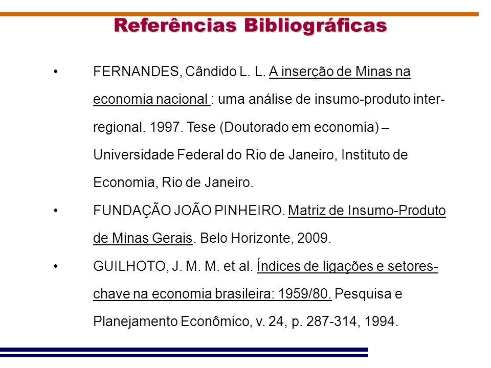 Referências Bibliográficas FERNANDES, Cândido L. L. A inserção de Minas na economia nacional : uma análise de insumo-produto inter- regional. 1997. Te