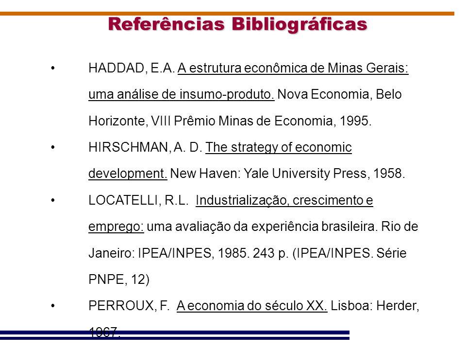 Referências Bibliográficas HADDAD, E.A. A estrutura econômica de Minas Gerais: uma análise de insumo-produto. Nova Economia, Belo Horizonte, VIII Prêm