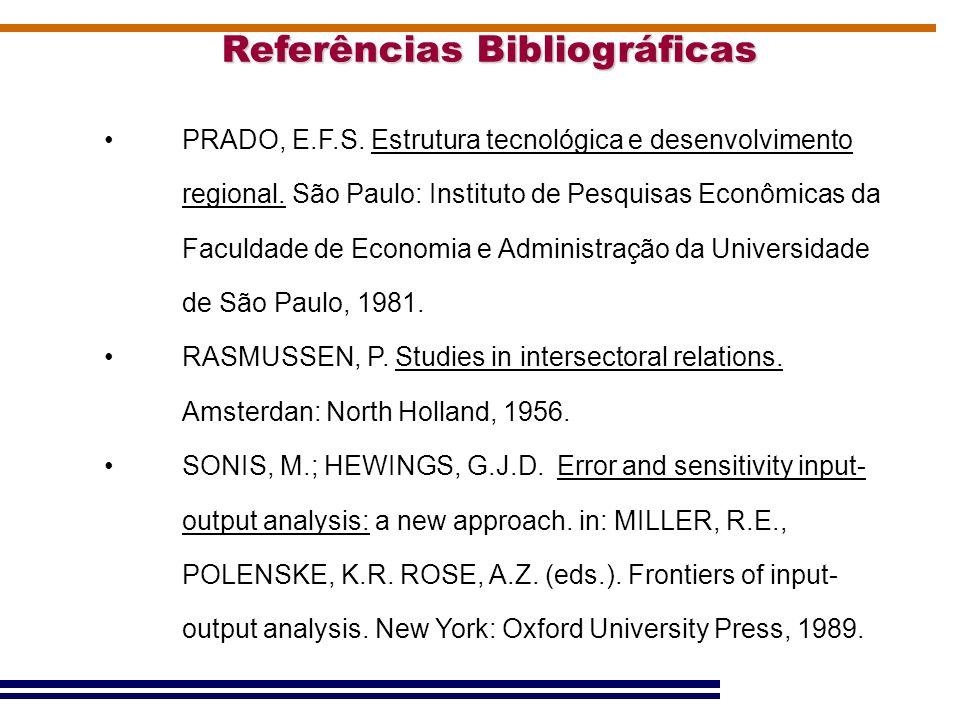 Referências Bibliográficas PRADO, E.F.S. Estrutura tecnológica e desenvolvimento regional. São Paulo: Instituto de Pesquisas Econômicas da Faculdade d