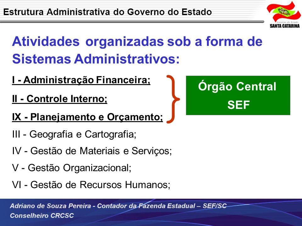 Adriano de Souza Pereira - Contador da Fazenda Estadual – SEF/SC Conselheiro CRCSC Atividades organizadas sob a forma de Sistemas Administrativos: I -