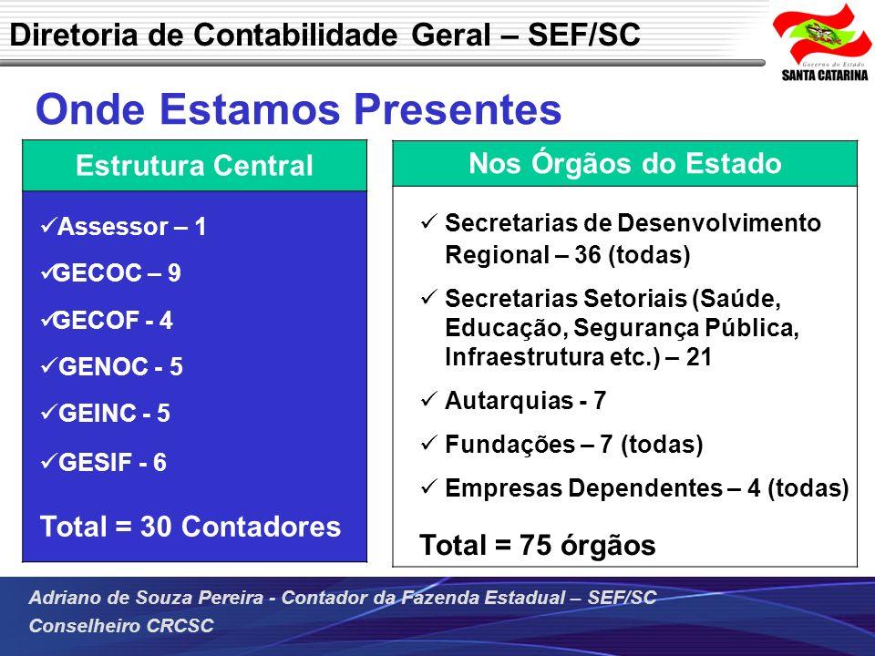 Adriano de Souza Pereira - Contador da Fazenda Estadual – SEF/SC Conselheiro CRCSC Onde Estamos Presentes Diretoria de Contabilidade Geral – SEF/SC No