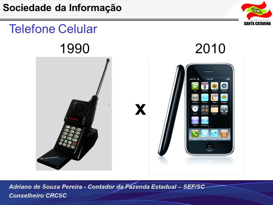 Adriano de Souza Pereira - Contador da Fazenda Estadual – SEF/SC Conselheiro CRCSC Telefone Celular 1990 2010 Sociedade da Informação x