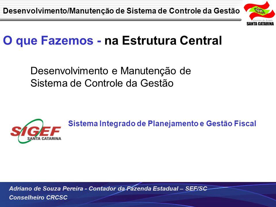 Adriano de Souza Pereira - Contador da Fazenda Estadual – SEF/SC Conselheiro CRCSC O que Fazemos - na Estrutura Central Desenvolvimento e Manutenção d